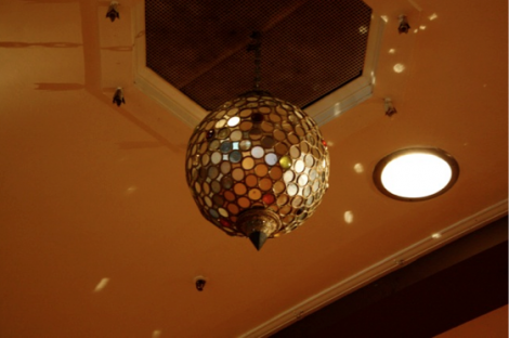 The original 1927 mirrored 'Disco Ball' hanging from the ceiling of Dwight Hall