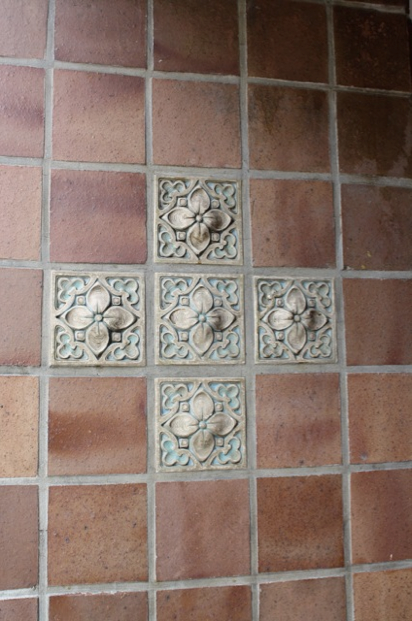 Some of the wall tiles in the Entranceway of Dwight Hall
