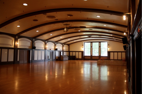The Interior of Dwight Hall – ready for 800 dancers. Ancillary rooms lead off this grand room.