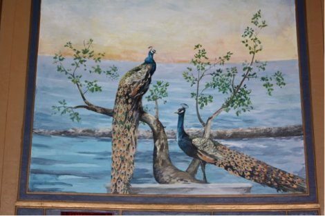 The peacock murals on either side of the stage have been restored