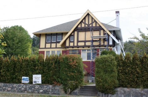 Another Manager's house – in Tudor styling – is being carefully restored, with the sleeping porch temporarily filled with plywood as work progresses.