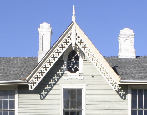Detail: An 1863 house with a gothic window in the gable and cut out 'quatrefoils' in the bargeboards