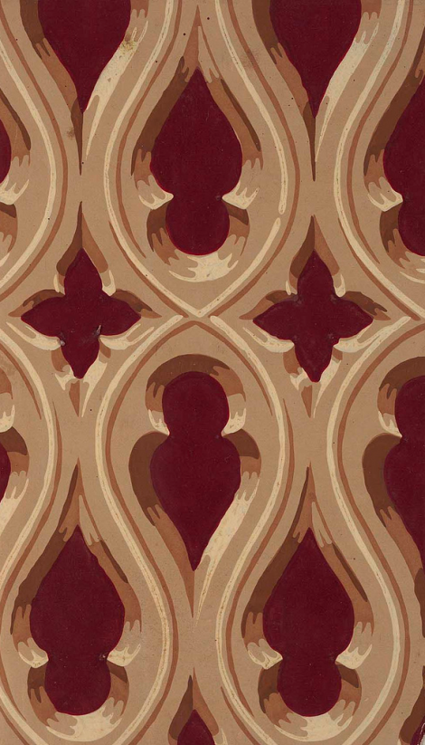 Gothic Revival Wallpaper Designed by Robert Horne. English, 1849.