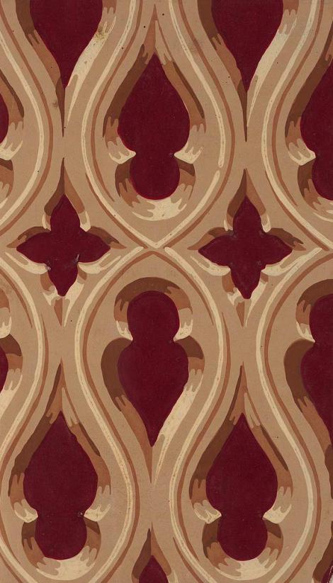 Gothic Revival Wallpaper Designed by Robert Horne. English, 1849.