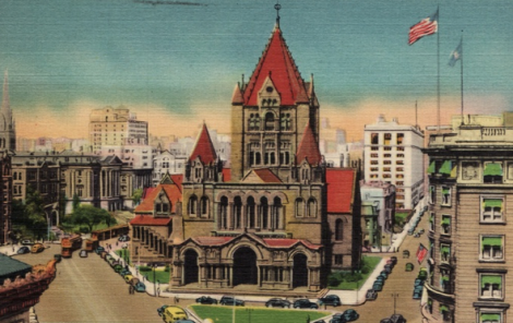 Trinity Church, Copley Square, Boston, Completed 1877. An early postcard view.