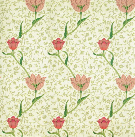 Garden Tulip wallpaper and fabric designed by William Morris in 1885 used in the Cupples mansion bedroom above. This wallpaper design was only three years old when installed in the Cupples home, making it thoroughly modern at the time.  Available in three colourways in fabric and wallpaper from: www.CharlesRupertDesigns.com