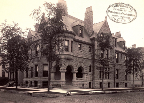 The Cable House at 25 Erie Street in Chicago - as seen shortly after construction in 1886 - was designed by architects Cobb and Frost. The house was built for Ransom R. Cable, the president of the Chicago, Rock Island and Pacific Railway Company, in a neighborhood filled with homes of Chicago's social elite.