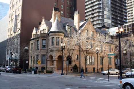 Today, this splendid Chicago Landmark, designated Heritage on October 2, 1991, sits on a downtown street corner and now serves as high-end offices. Its golden stone façade adds a gracious counterpoint to the modern buildings that now surround it.
