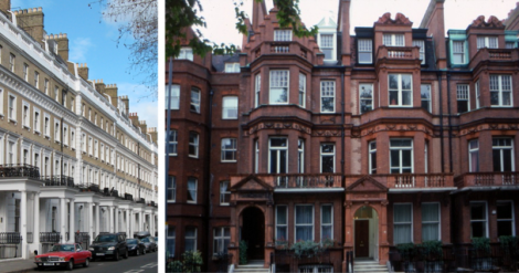 Left: Older, plain yellow brick terrace houses in London with pillared entrance porches create a severe and ordered streetscape. Right: Queen Anne red-brick London town houses, 1880's. In a great change for London's streets, Dutch gables and classical garland motifs are mixed together in a picturesque assembly of architectural influence. White painted window sash – and small panes – were popular elements of the style. Even though plate glass was now widely available, small window panes were deemed to be more artistic. Though similar, some bay windows were angled, and some square, adding to the individual character of the terrace.