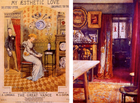 "Left: English Aesthetic interior of the 1880's – complete with Japanese-inspired black lacquered 'bamboo' furniture and Chinese blue and white china. The division of the wall with a wallpaper wainscoting was typical of the period. Right: An interior of 1898 in Fulham, London. (From ""19th Century Decor"" by Charlotte Gere  p290) The black chair behind the table is a version of William Morris' ""Sussex"" chair which had its origins in a vernacular chair found in the local countryside. Richly coloured portieres hang in the doorways of both rooms –very decorative but also useful for keeping in heat and blocking out drafts."