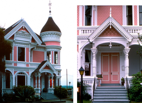 Two views of a Queen Anne house in Eureka, California, with exuberant woodwork, and a non-original colour scheme. Many more colours would have been used on the house when it was constructed. The tower, elaborate woodwork and fancy-cut shingles used for wall covering are easily recognized Queen Anne design elements. Note the fan-shaped woodwork in the window bracket to the left of the porch.