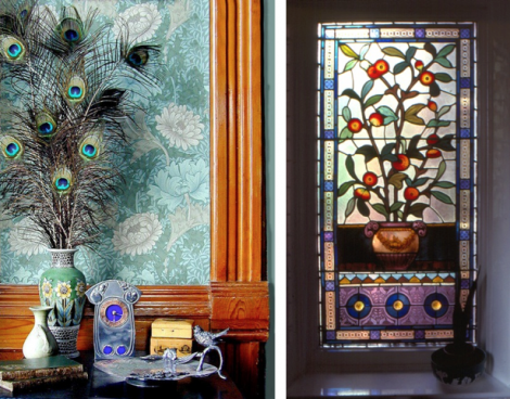 Left: William Morris 'Chrysanthemum' wallpaper in a Queen Anne house (1892). Available from www.CharlesRupertDesigns.com Right: An Aesthetic or Queen Anne window c1880's