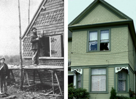 Left: Workmen hanging terra cotta tiles on walls. England 1890's Right: A translation of tile-hanging into decorative wood shingles on a house in Washington State