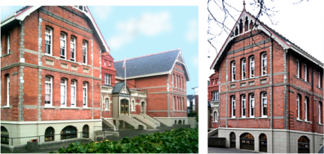 South Park School, Victoria, B.C. 1894. A Queen Anne building in red brick with small paned white sash windows, a finial, roof cresting and a gothic screen in the gable. .