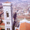 Florence – the view from the dome of the Cathedral.  The Campanile at left, is the bell tower for the Cathedral,   and copied as a major design element of the Italianate style.