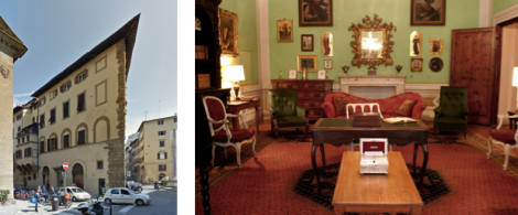 Left: Casa Guida, Florence. The Home of the Brownings. Right: The interior of Casa Guida Now available to rent from the Landmark Trust. See: http://www.landmarktrust.org.uk/our-landmarks/properties/casa-guidi-15311#tabs=0