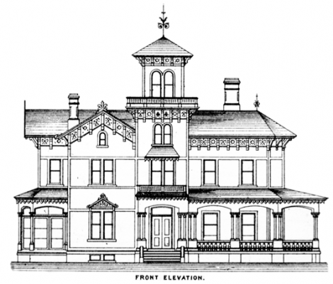 """A plan book design from the 1870's for an Italianate Villa (with a tower).             Porches were often called """"piazzas"""" on Italianate style plans."""