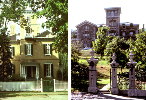 "Other examples of the Italianate style: Left: The Anglican Rectory at Niagara-on-the-Lake, Ontario. Built 1858 Right: ""Ravenscrag"" a massive 72-room Italianate Villa built in Montreal from 1860-63 for Sir Hugh Allen, a wealthy industrialist."