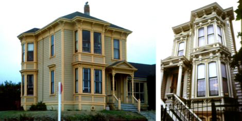 Two wooden houses in the Italianate style: Left: An Italianate house in Eureka California, with a typical, shallow hipped roof Right: An Italianate style home in San Francisco, with a 'false-front' cornice. Double-height bay windows, as seen in the two California examples shown above, are a popular architectural feature of houses in the Italianate style. Building lots for smaller (or narrower) homes prevented the construction of towers, but the houses are still in the Italianate style.
