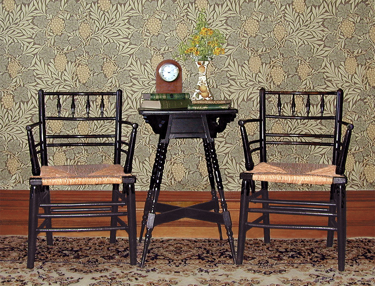 Queen anne chair history - A Pair Of William Morris Sussex Chairs With Rush Seats Which
